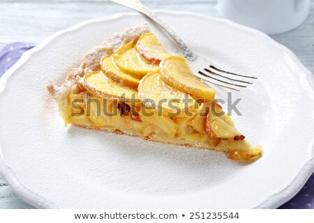 close up of apple pie and fork on plate Stock photo © dolgachov
