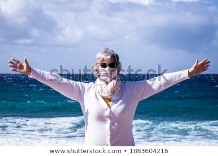 Kobiet wiatr niebo portret Błękitne niebo Zdjęcia stock © Anna_Om