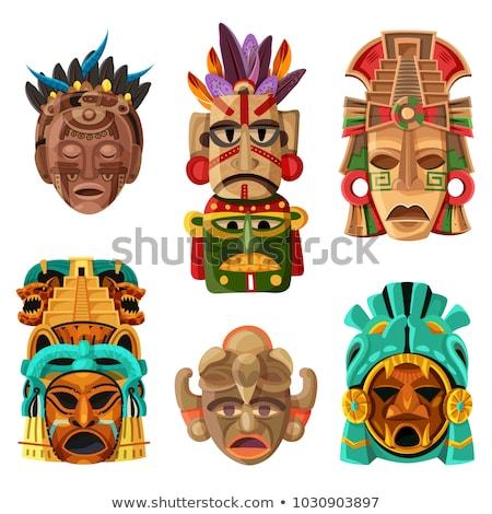 Maske beyaz kafa beyaz arka plan geleneksel kil Stok fotoğraf © eh-point