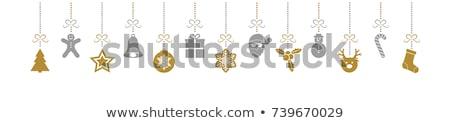vektor · sziluett · karácsony · dekoráció · hely · terv - stock fotó © orson