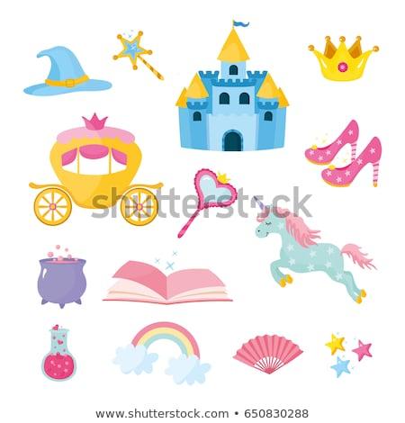 Foto stock: Doce · princesa · ícones · colorido · conjunto · coração
