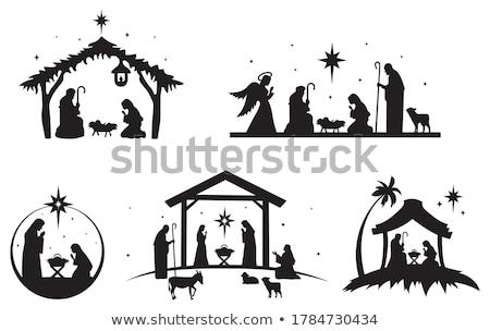 Scena baby Jezusa sepia dziecko karty Zdjęcia stock © marimorena