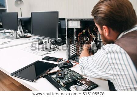 Homem computador escritório teclado cabos Foto stock © photography33