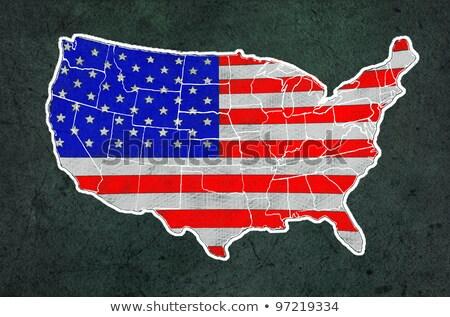 Сток-фото: America Map With Flag Draw On Grunge Blackboard