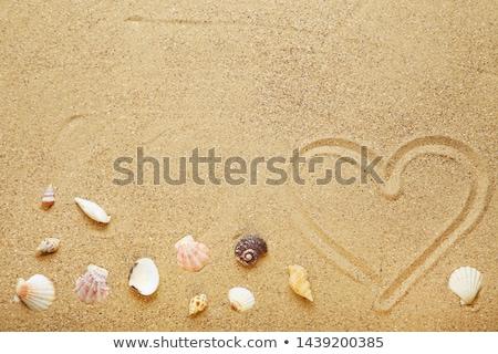 Foto stock: Coração · areia · casamento · relaxar · ilha