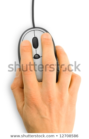 computer mouse with hand over white Stock photo © oly5