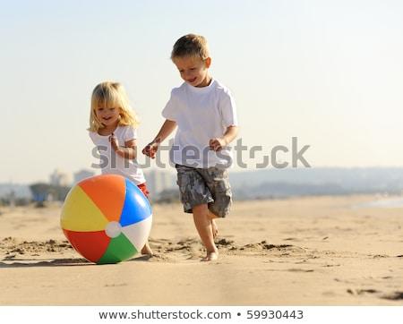 feliz · menino · praia · bola · branco · fundo - foto stock © Anna_Om