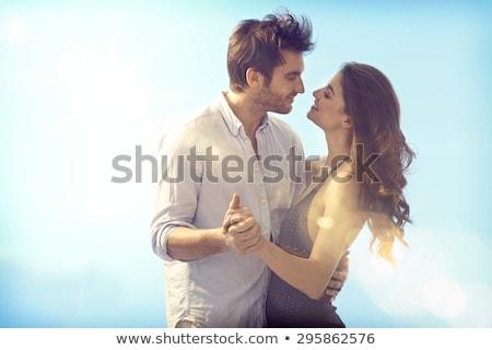 Feliz casal blue sky dia mulher homem Foto stock © photography33