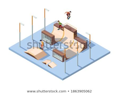 3d girl performing trick on skateboard stock photo © bobbigmac