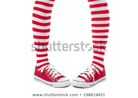 Lány csíkos zokni miniszoknya játék nő Stock fotó © RuslanOmega