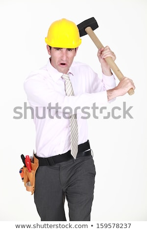 Angry engineer waving a mallet around Stock photo © photography33