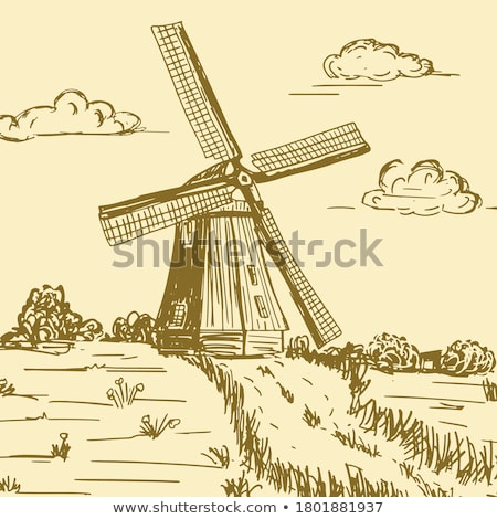 Paese lato illustrazione cielo casa erba Foto d'archivio © zzve
