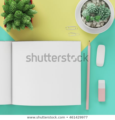 jaune · crayon · notepad · isolé · blanche · stylo - photo stock © experimental