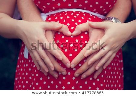 bella · donna · incinta · massaggio · mani · pancia · home - foto d'archivio © lunamarina