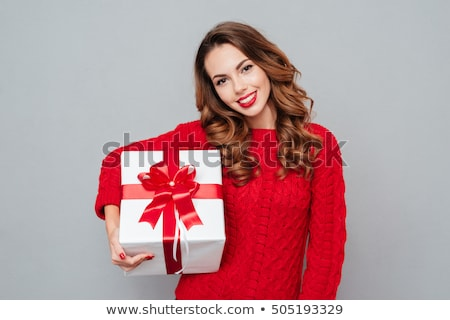 Nő ajándék fehér papír szexi nő izolált Stock fotó © prg0383