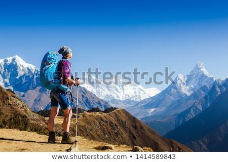 kadın · yürüyüş · dağlar · genç · kadın · uzun · yürüyüşe · çıkan · kimse - stok fotoğraf © blasbike