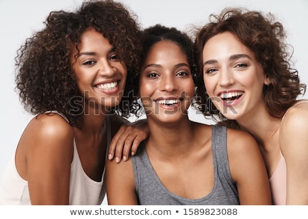 drie · vriendinnen · witte · geïsoleerd · meisje · glimlach - stockfoto © acidgrey