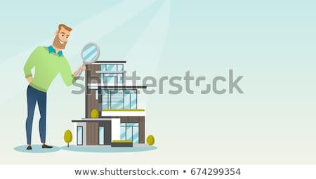 Pessoas olhando traçado casa papel construção Foto stock © photography33