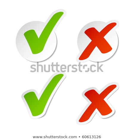Foto stock: Check Mark Stickers Set Isolated On White