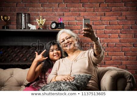 Old Indian senior female Stock photo © ziprashantzi