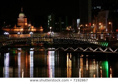 Vám ház folyó Dublin éjszakai város éjszaka Stock fotó © mady70