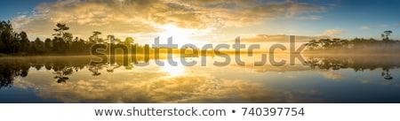 naplemente · lila · Bukarest · tó · tájkép · narancs - stock fotó © photosebia