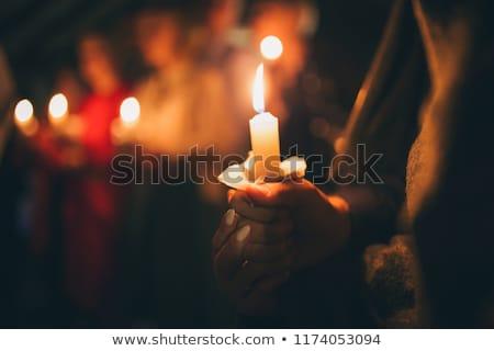 рук · искусственное · освещение · огня · Церкви · ночь · черный - Сток-фото © doupix