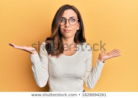 Foto stock: Mulher · quadro · menina · mãos · pergunta