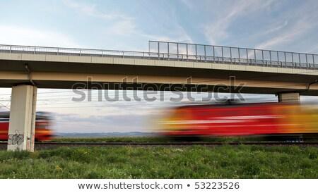 コミューター 列車 橋 赤 鉄道駅 車 ストックフォト © tainasohlman