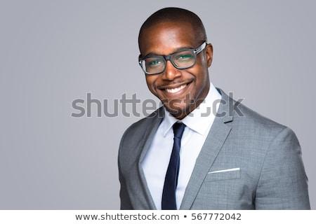 черным человеком костюм элегантный красный галстук изолированный Сток-фото © smuki