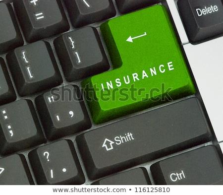 kék · otthonbiztosítás · kulcs · billentyűzet · gomb · alumínium - stock fotó © redpixel
