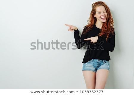 Gyönyörű nő rövidnadrág hosszú hullámos barna hajú haj Stock fotó © stryjek