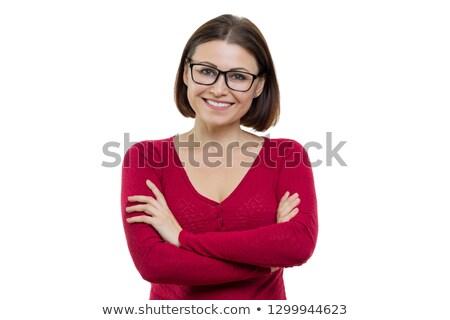 ブルネット · 女性 · ポーズ · 赤いドレス · 美しい · ファッショナブル - ストックフォト © konradbak