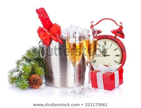 クリスマス · シャンパン · バケット · ギフトボックス · 孤立した · 白 - ストックフォト © karandaev