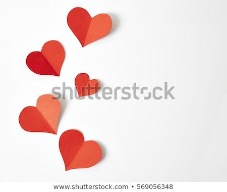Papír szív űr piros kártya grafikus Stock fotó © oly5