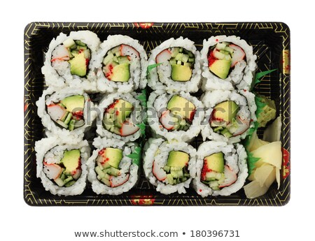 top view shot of california rolls in white plate stock photo © tab62