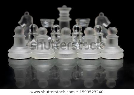 стекла · шахматная · доска · темно · бизнеса · войны · шахматам - Сток-фото © geribody