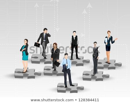 negócio · povos · em · pé · homem · construção · mapa - foto stock © designers