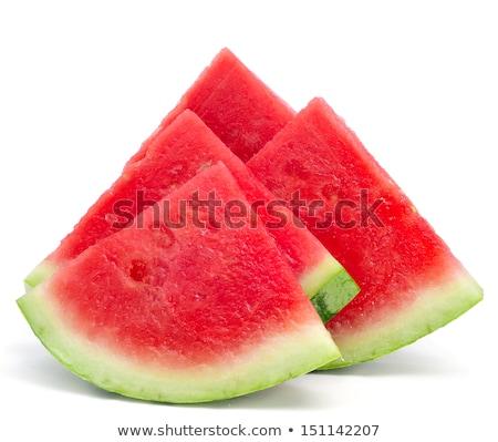 Közelkép darabok frissítő görögdinnye fehér étel Stock fotó © stryjek