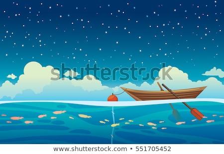 Blauw roeiboot zee water reizen zwart en wit Stockfoto © bmonteny
