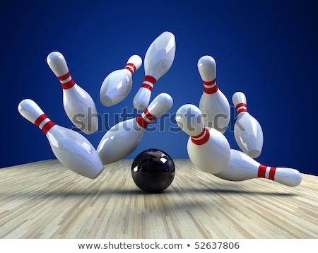 Bowling oyun mavi bowling topu hızlandırmak oynamak Stok fotoğraf © tilo