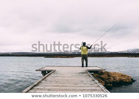 Pescador lago Islandia franco vista agua Foto stock © 1Tomm