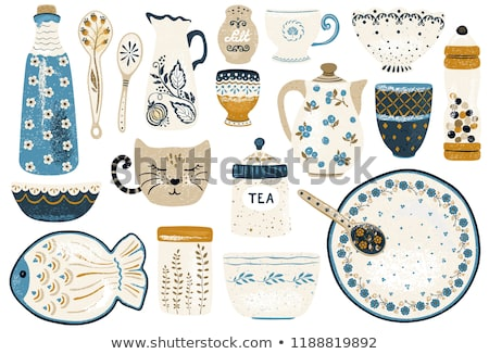 Sketch cute plate in vintage style Stock photo © kali