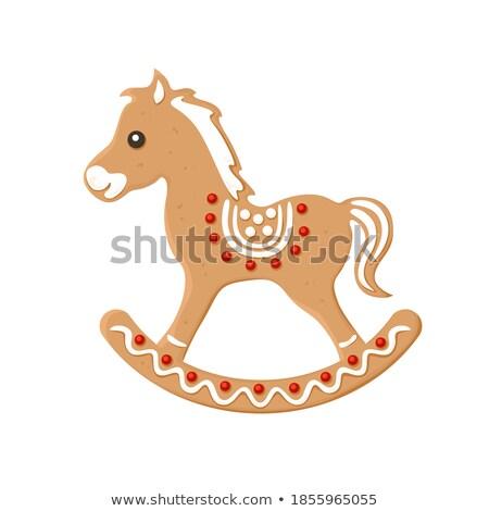面白い ブラウン 馬 ケーキ クリーム ストックフォト © aliaksandra