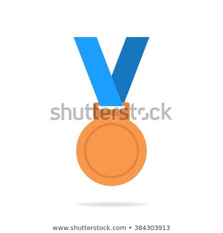 Medaille Blauw vector icon ontwerp succes Stockfoto © rizwanali3d
