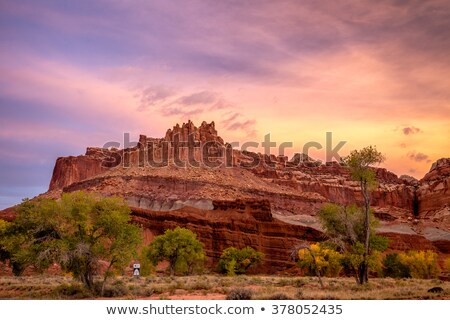 Capitol Reef Sandstone Mountain Blue Skies Capitol Reef National Stock photo © billperry