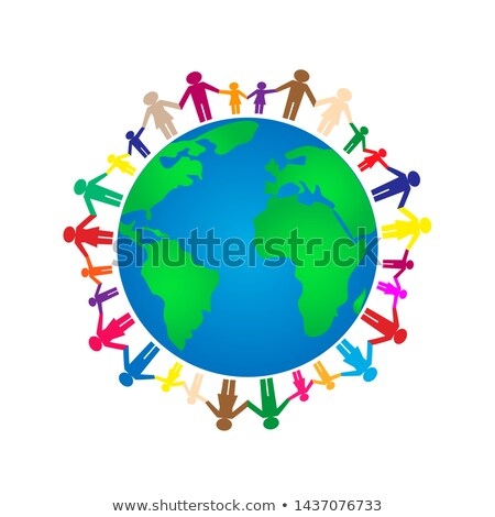 children holding hands around the world stock photo © carbouval