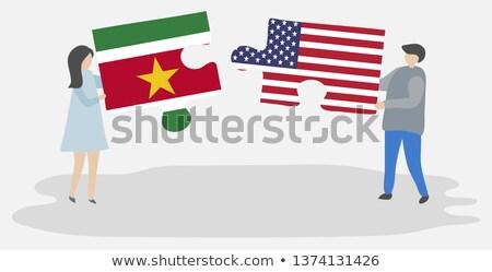 ストックフォト: 米国 · スリナム · フラグ · パズル · ベクトル · 画像