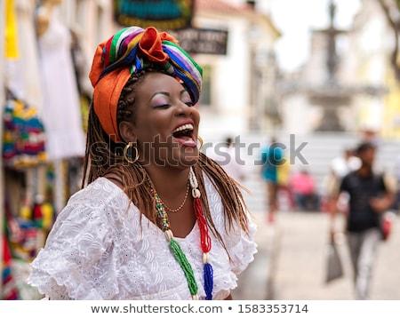 Genç güney afrika kadın moda güneş gözlüğü sarı Stok fotoğraf © lubavnel