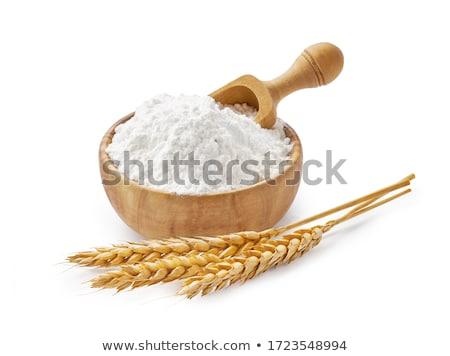Pszenicy mąka żywności tle tabeli biały Zdjęcia stock © yelenayemchuk